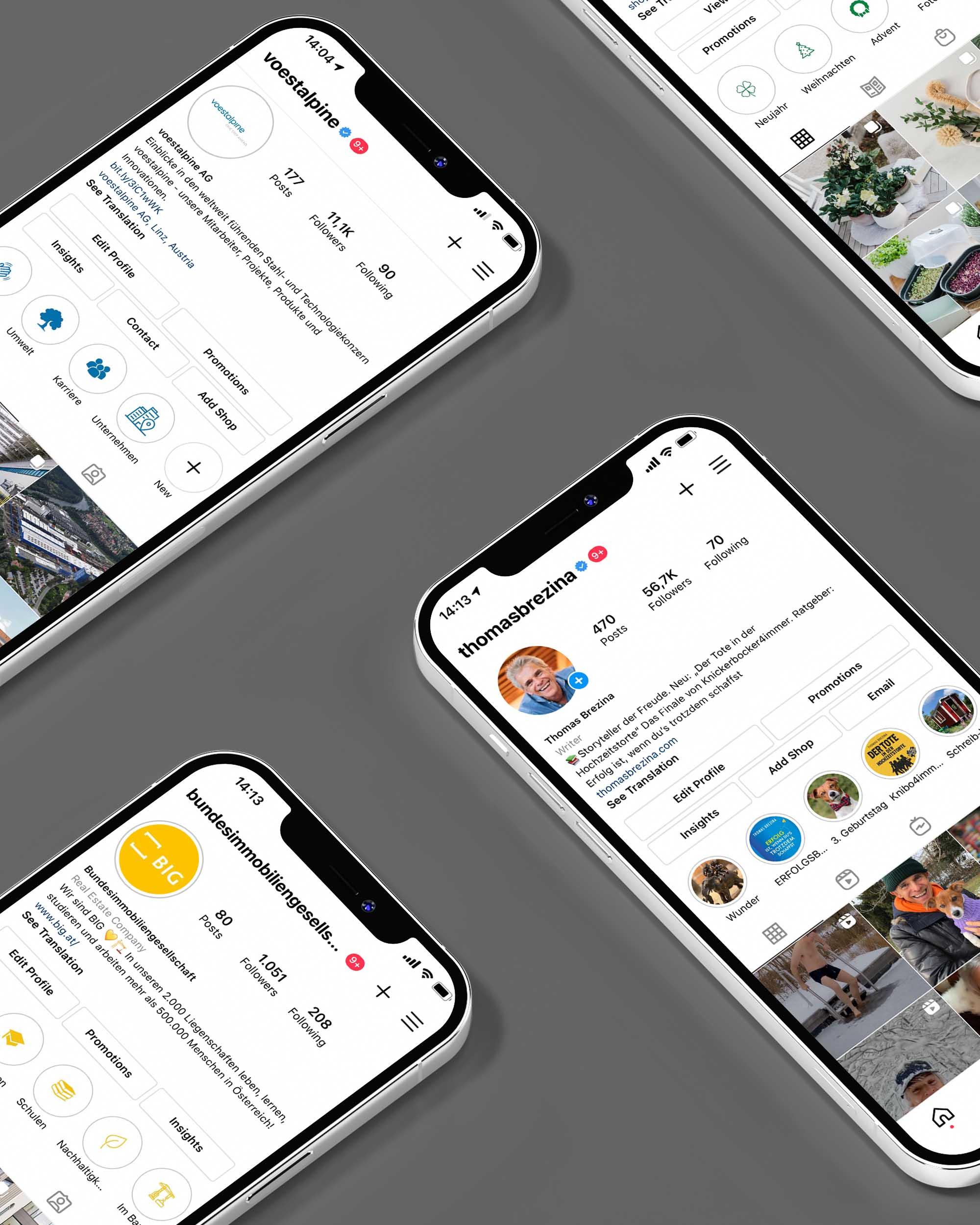 Eine Fotomontage mehrerer iPhone-Handyscreens mit Instagram-Konten auf dunklem Hintergrund.